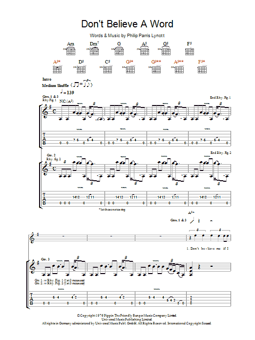 Don't Believe A Word Sheet Music