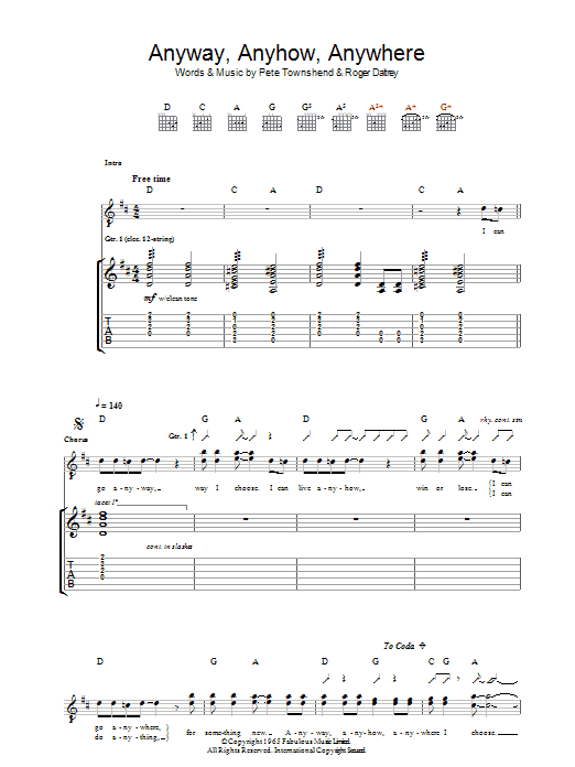 Anyway, Anyhow, Anywhere (Guitar Tab)