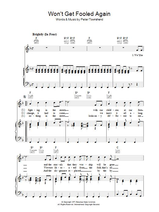 Won't Get Fooled Again (Piano, Vocal & Guitar)