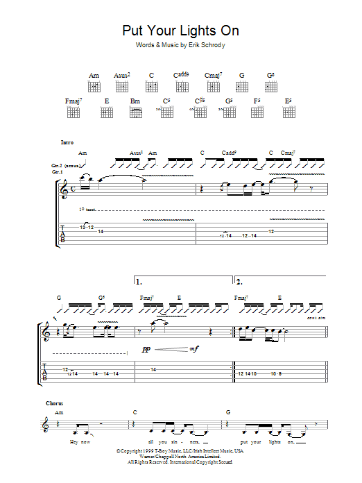 Put Your Lights On (Guitar Tab)