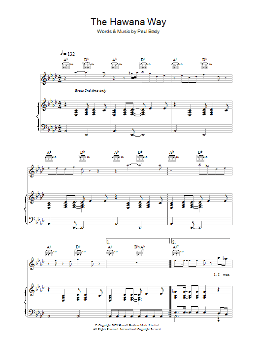 The Hawana Way (Piano, Vocal & Guitar)