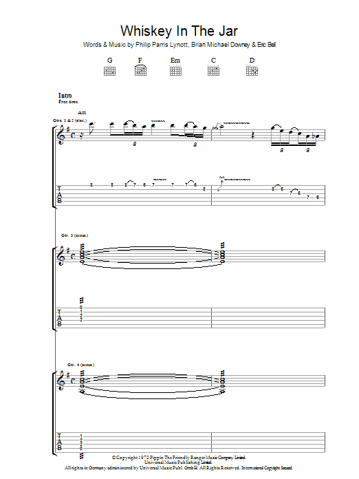 Whiskey In The Jar (Guitar Tab)