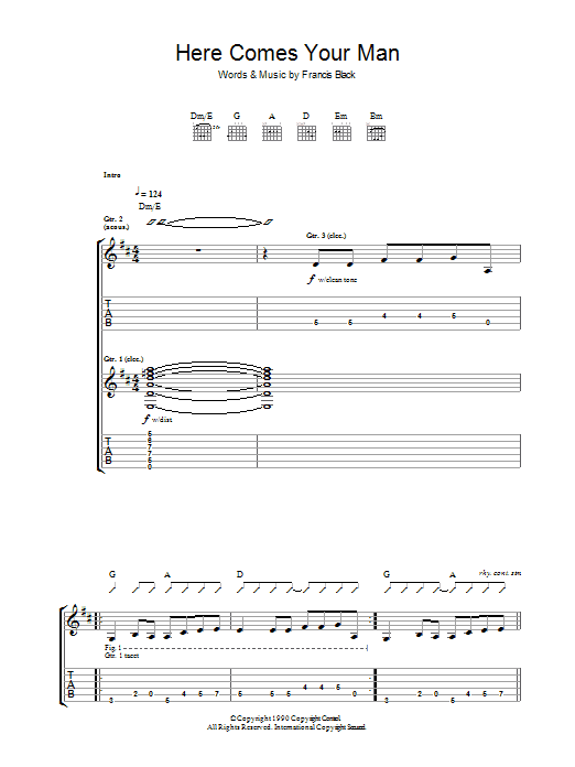 Here Comes Your Man by Pixies - Guitar Tab - Guitar Instructor