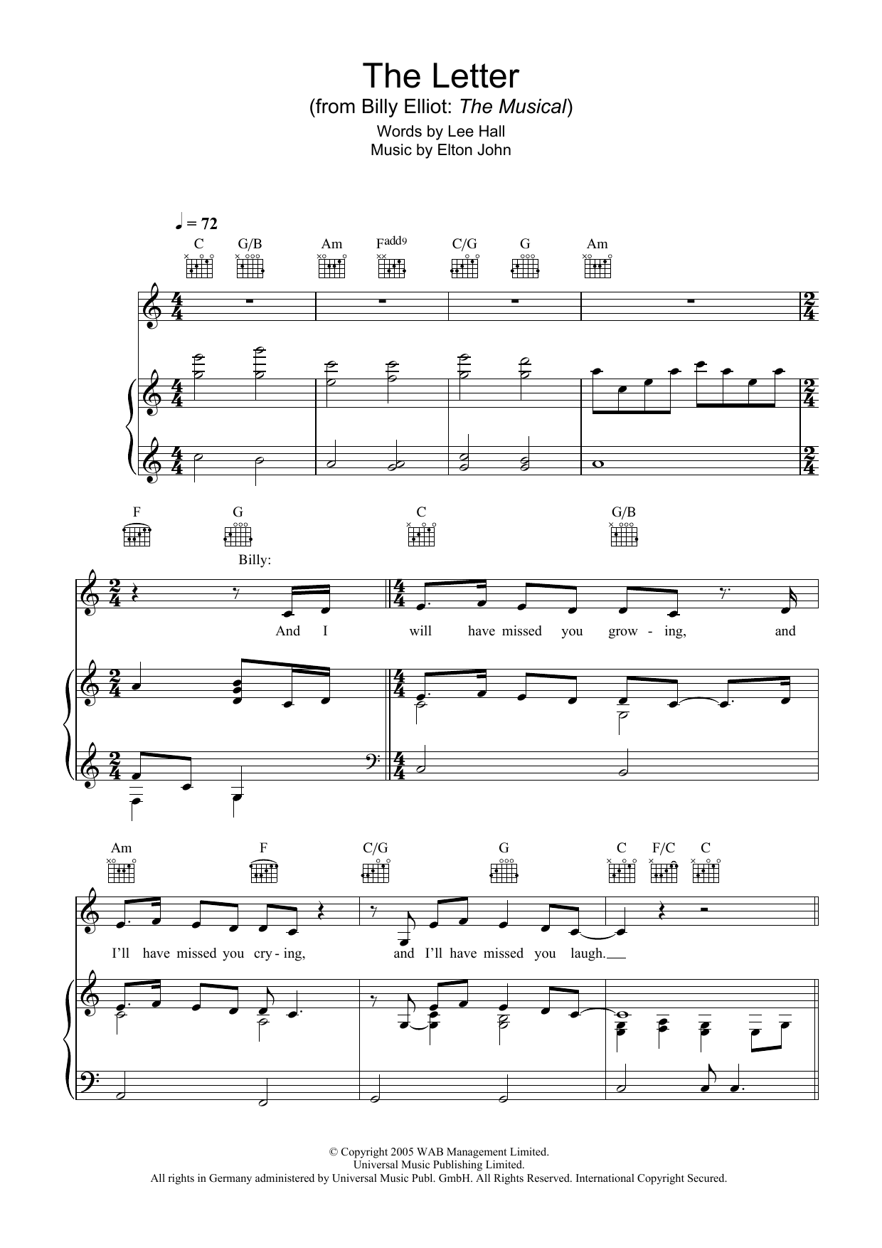 The Letter (Piano, Vocal & Guitar)