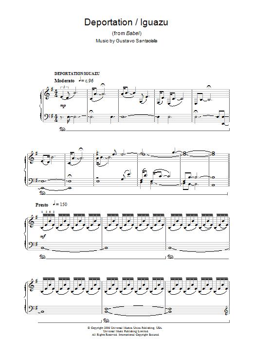 Deportation/Iguazu (from Babel) Sheet Music