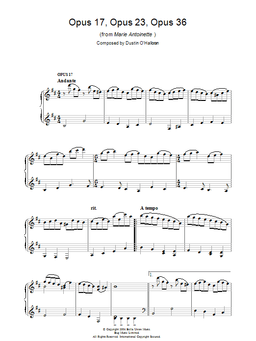 Opus 17, Opus 23, Opus 36 (from Marie Antoinette) (Piano Solo)