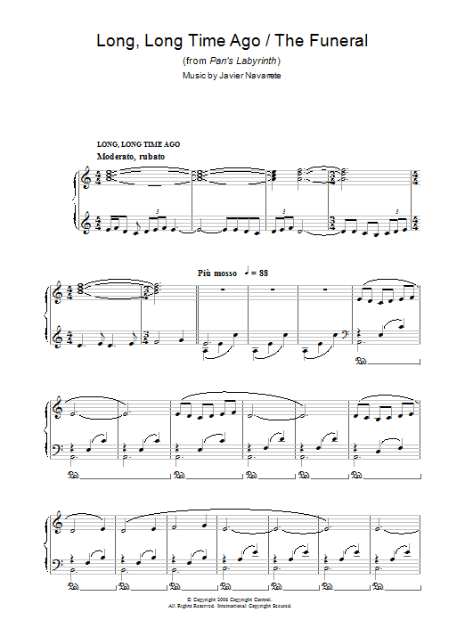 Long, Long Time Ago/The Funeral (from Pan's Labyrinth) Sheet Music