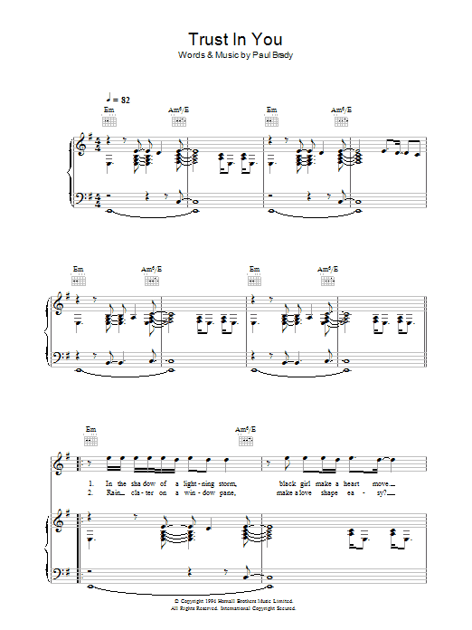 Trust In You Sheet Music