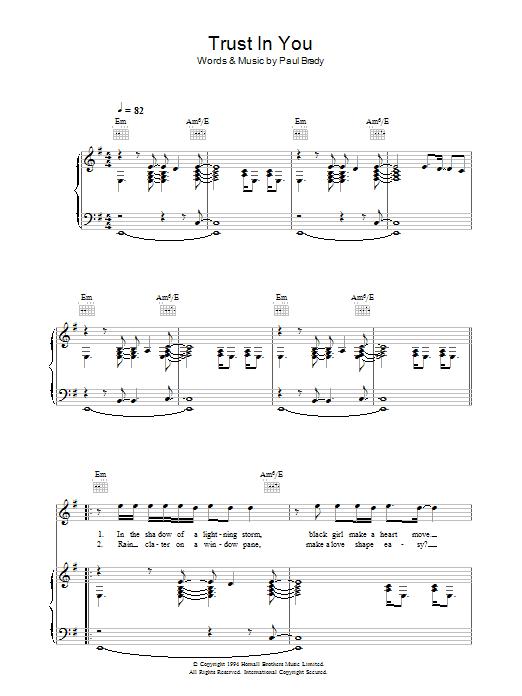 Trust In You (Piano, Vocal & Guitar)