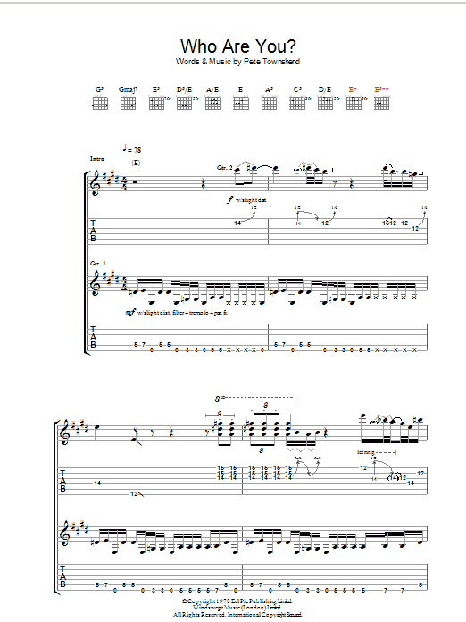 Who Are You? (Guitar Tab)