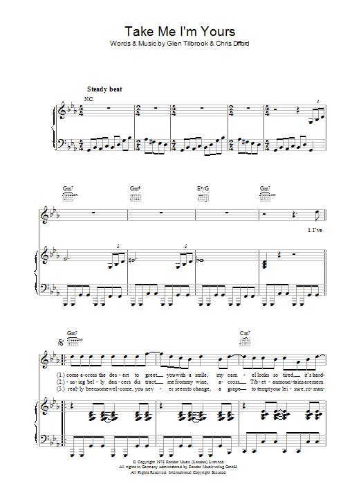 Take Me I'm Yours (Piano, Vocal & Guitar)