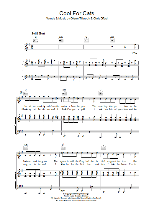 Cool For Cats Sheet Music