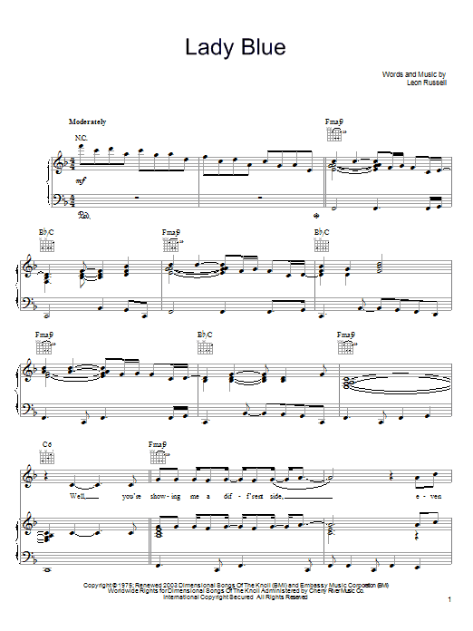 Partition piano Lady Blue de Leon Russell - Piano Voix Guitare (Mélodie Main Droite)