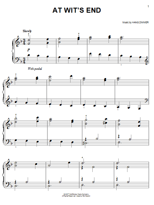 At Wit's End (from Pirates Of The Caribbean: At World's End) Sheet Music