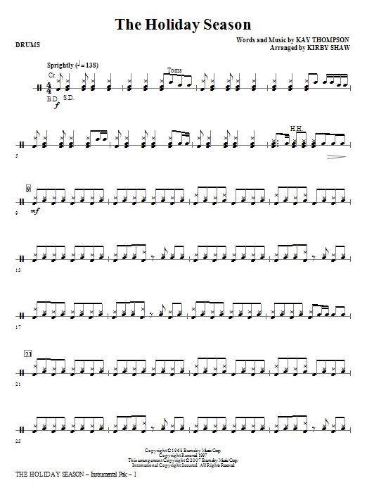 The Holiday Season - Drums Sheet Music
