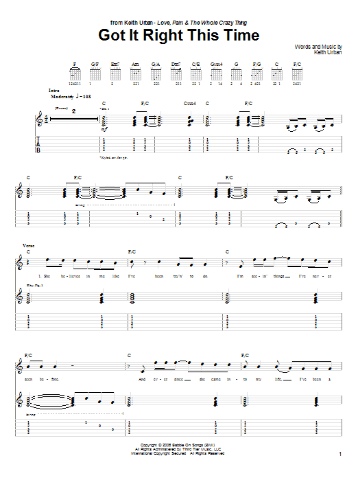 Tablature guitare Got It Right This Time de Keith Urban - Tablature Guitare
