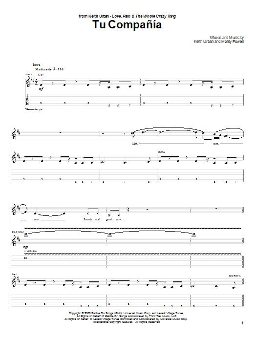 Tablature guitare Tu Compania de Keith Urban - Tablature Guitare