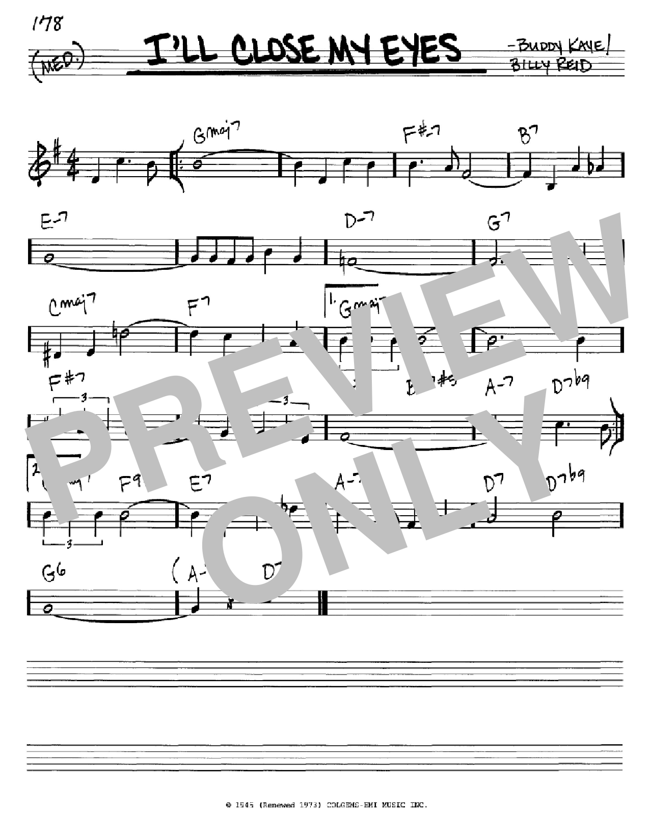 I'll Close My Eyes Sheet Music