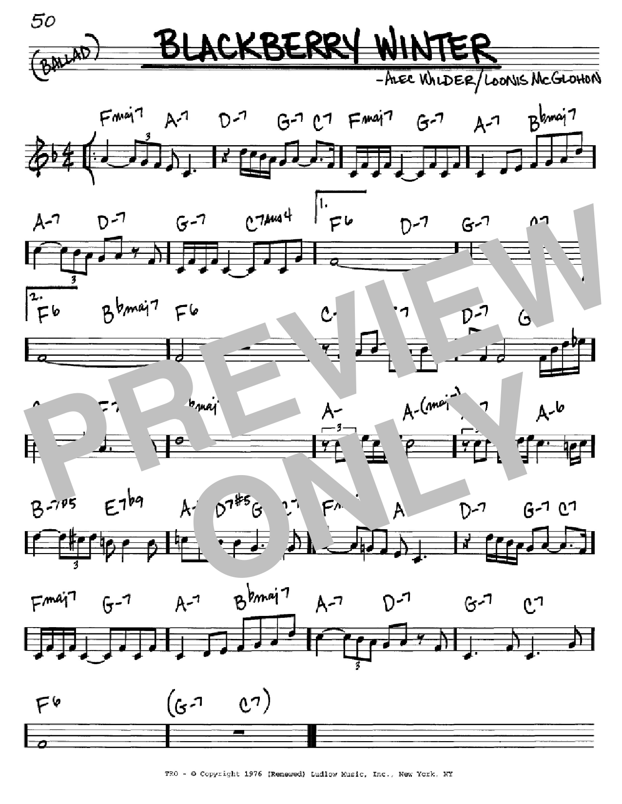 Blackberry Winter Sheet Music