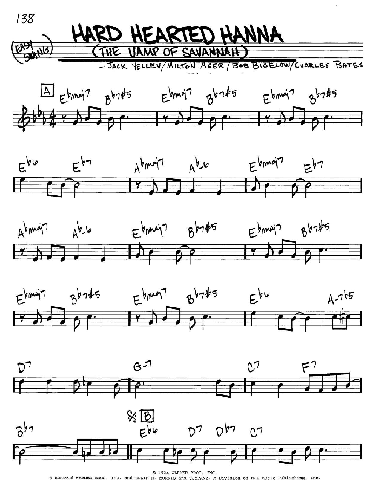 Hard Hearted Hannah (The Vamp Of Savannah) (Real Book – Melody & Chords)
