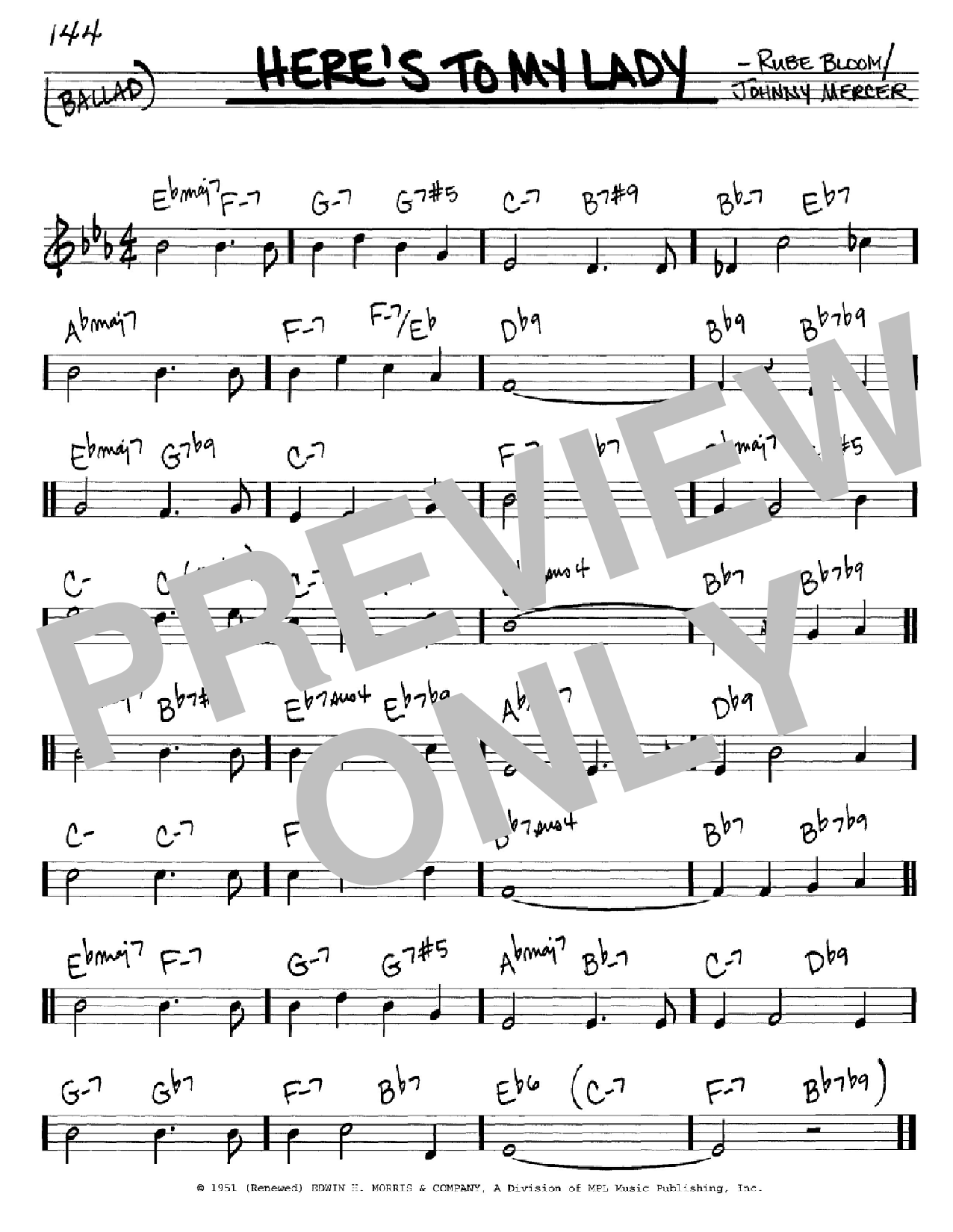 Here's To My Lady Sheet Music