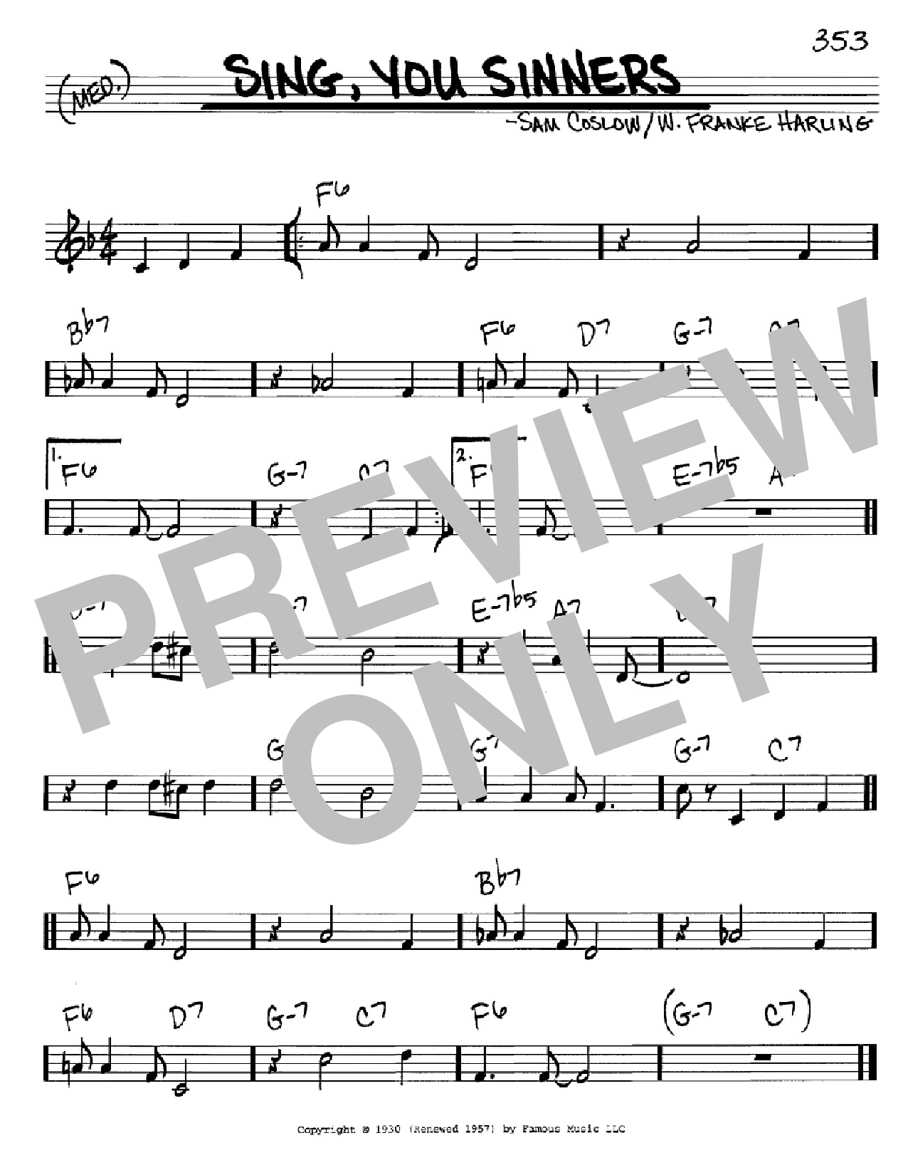 Sing, You Sinners Sheet Music