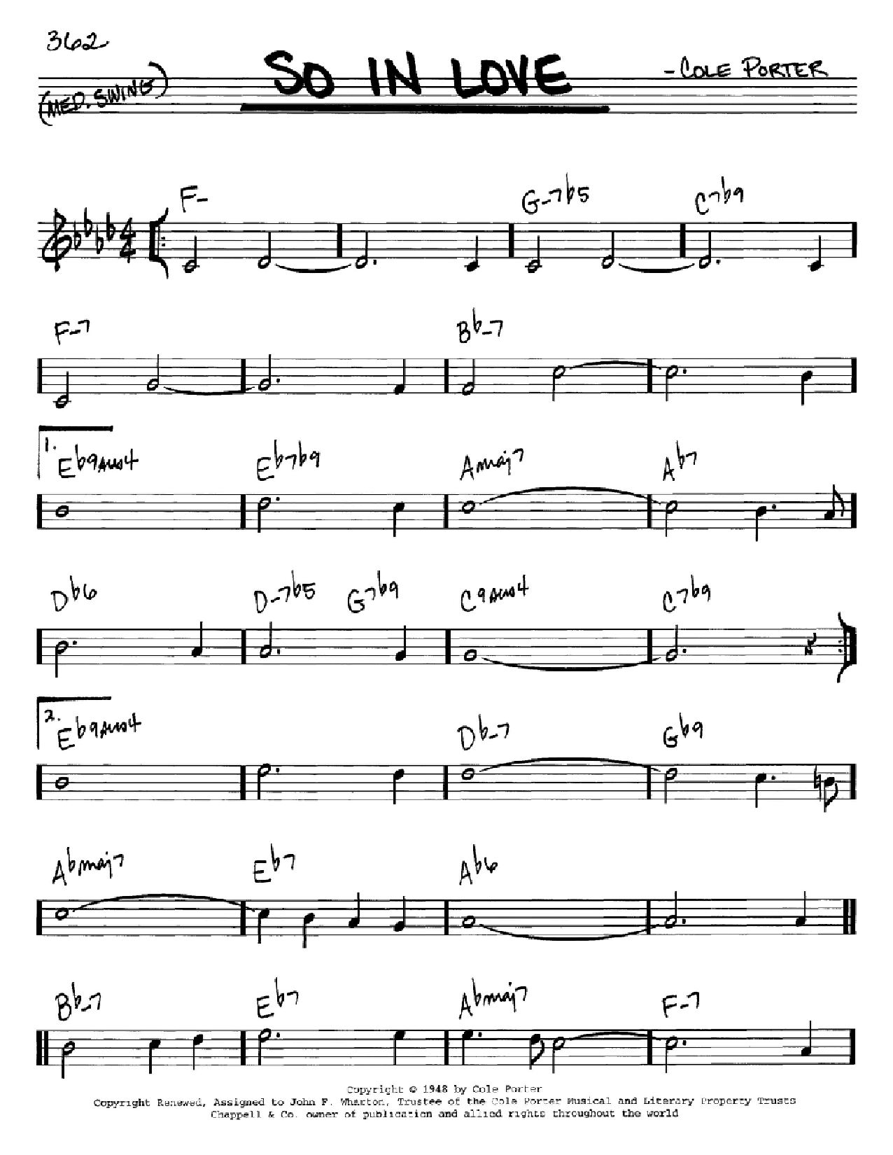 So In Love Sheet Music