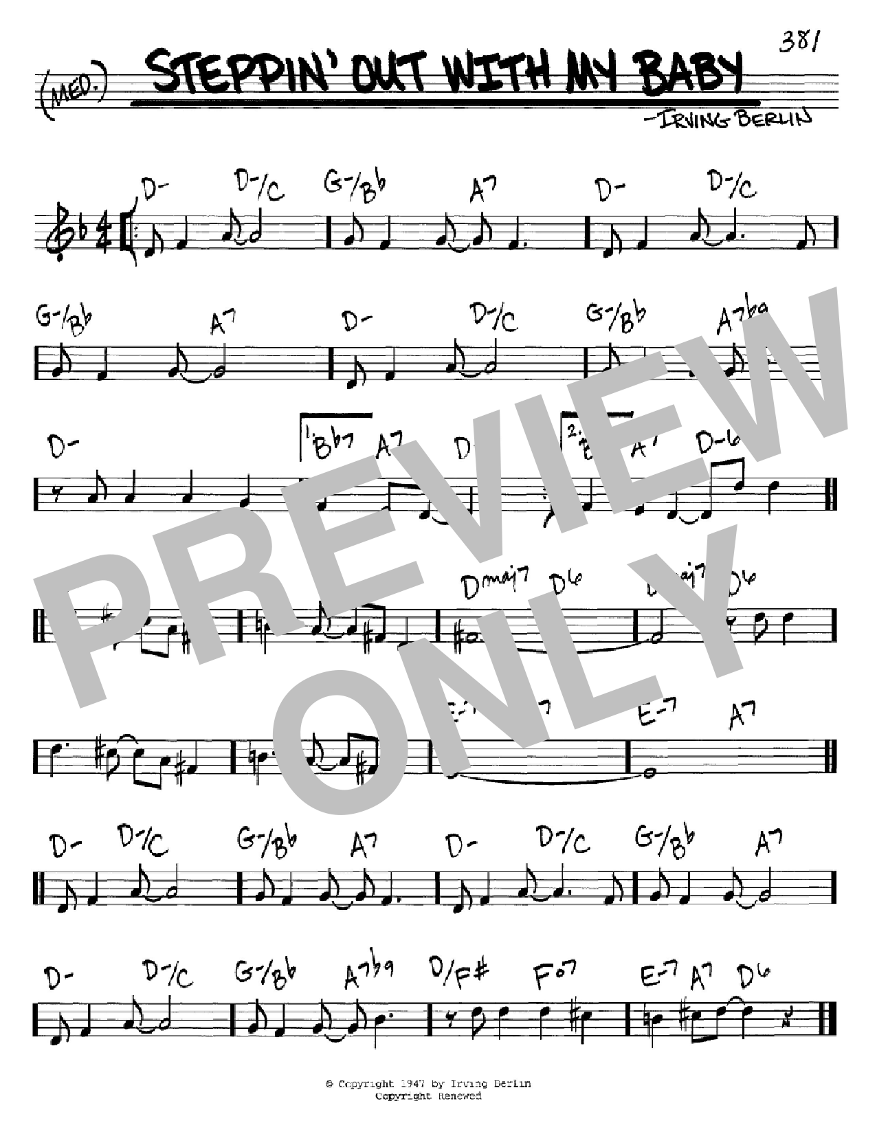 Steppin' Out With My Baby (Real Book – Melody & Chords – C Instruments)