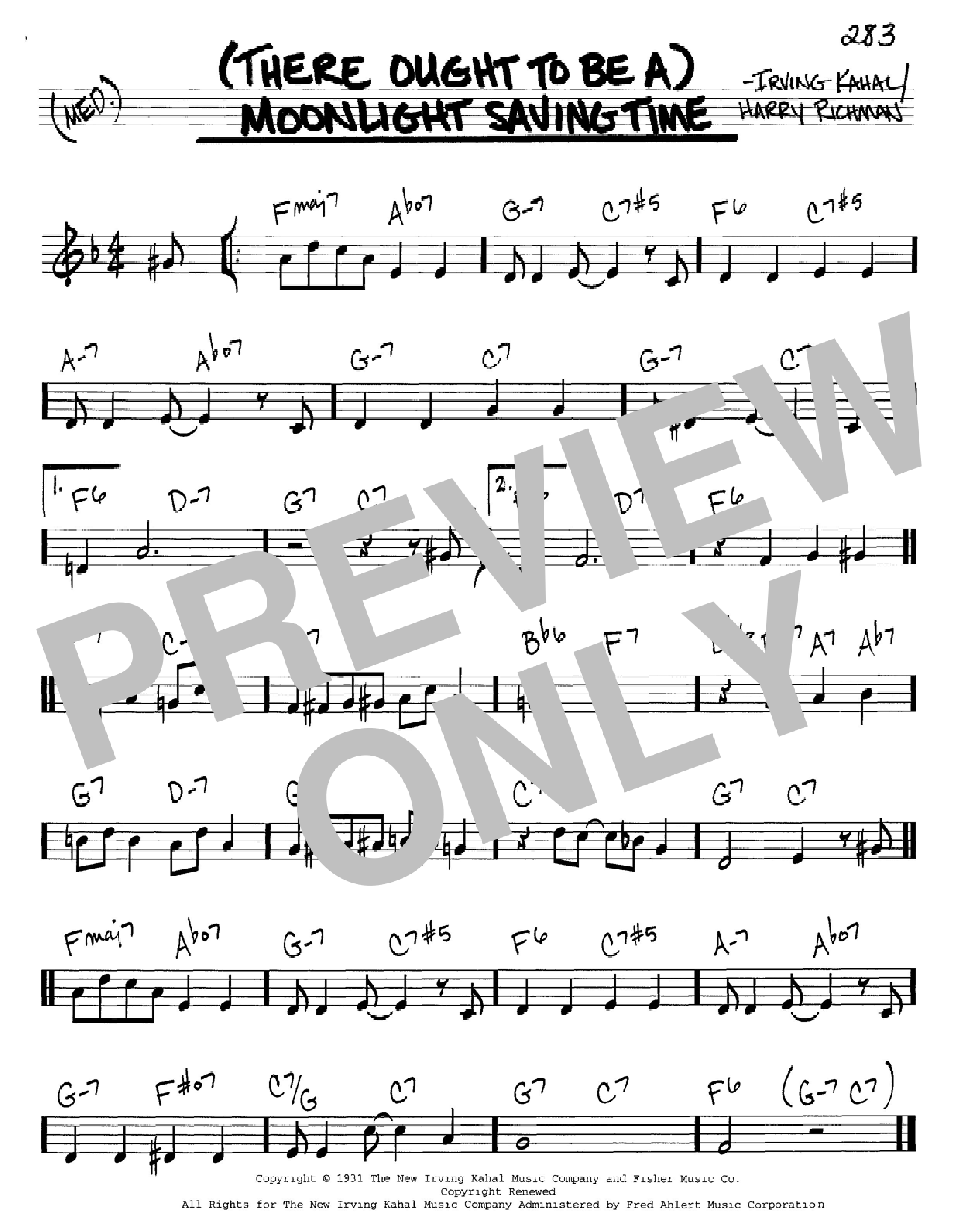 (There Ought To Be A) Moonlight Savings Time Sheet Music