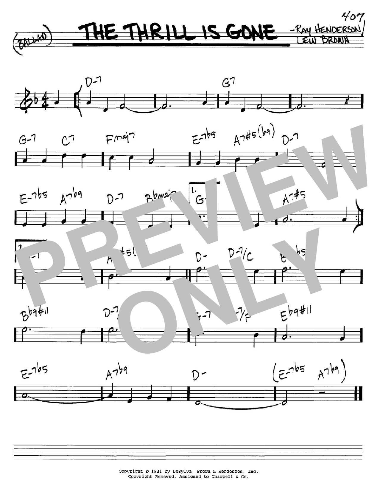 The Thrill Is Gone Sheet Music