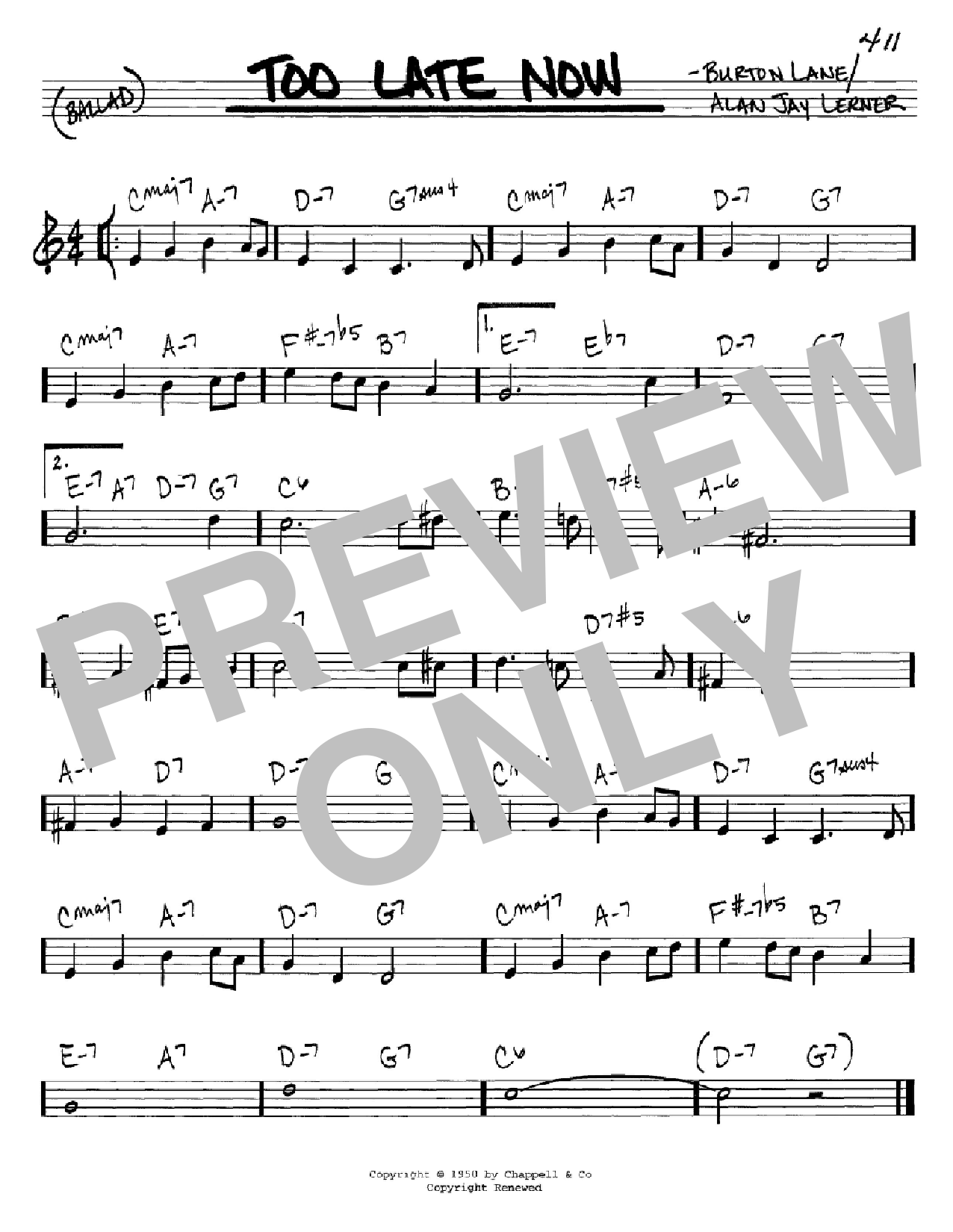 Too Late Now Sheet Music