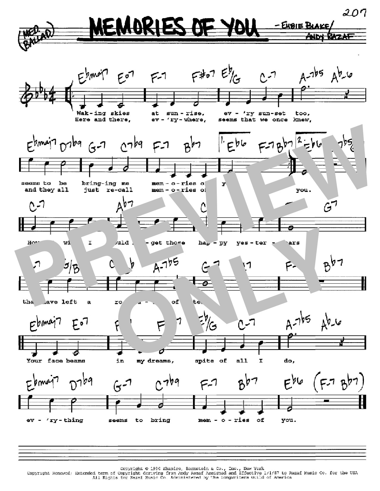 Memories Of You (Real Book – Melody, Lyrics & Chords – C Instruments)
