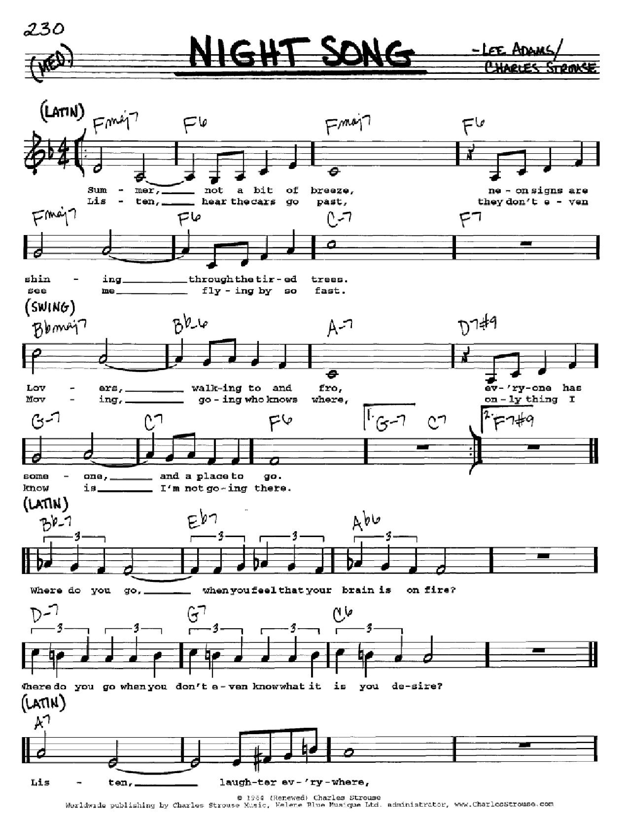 Partition autre Night Song de Charles Strouse - Real Book, Melodie, Paroles et Accords, Inst. En Do