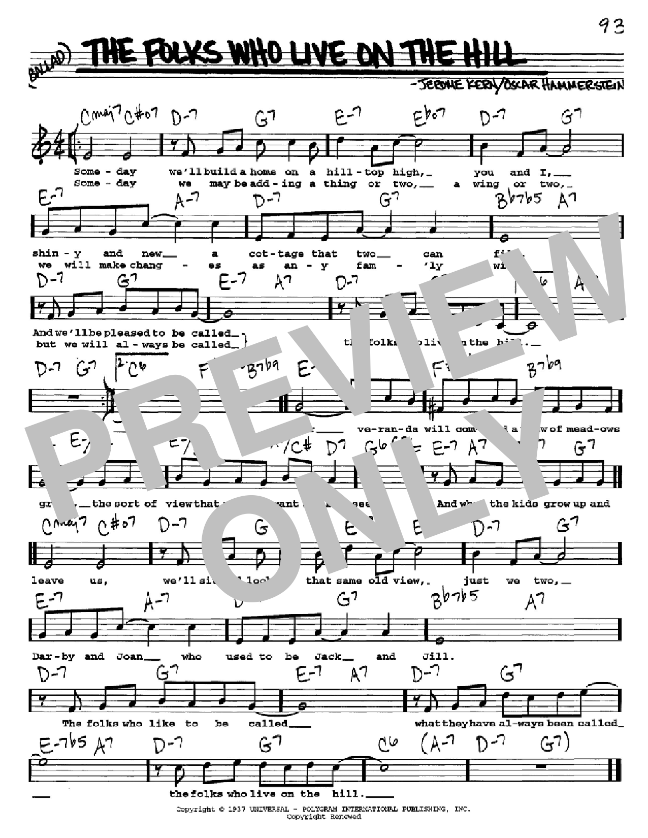 The Folks Who Live On The Hill (Real Book – Melody, Lyrics & Chords)