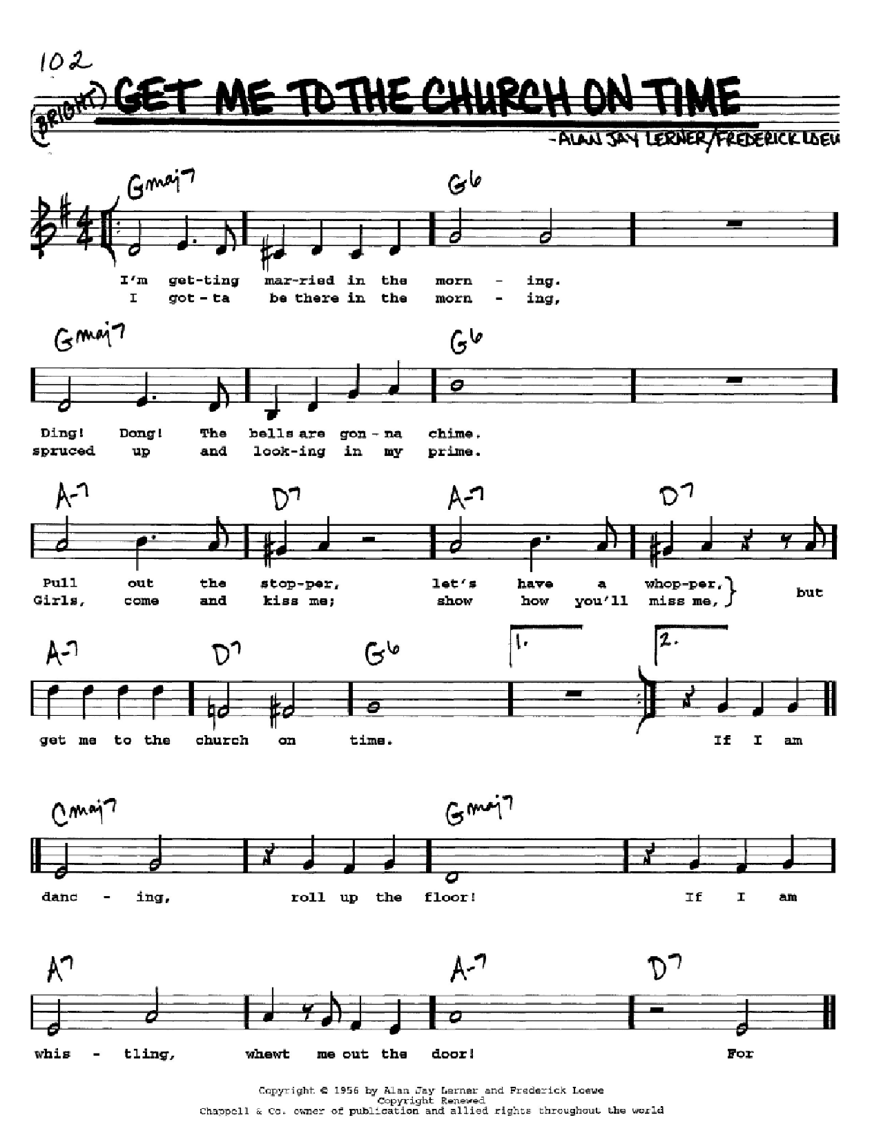 Get Me To The Church On Time (from My Fair Lady) Sheet Music