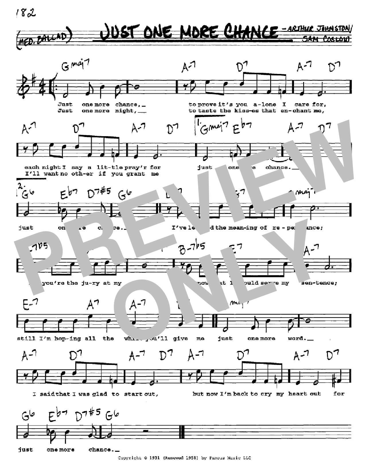 Just One More Chance Sheet Music