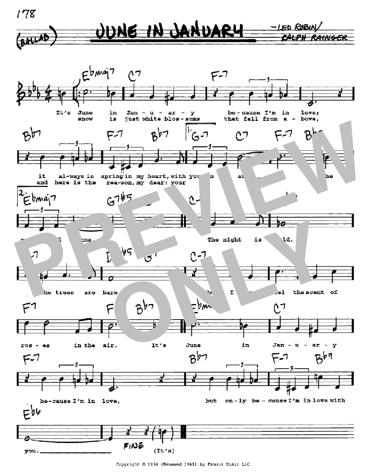 June In January Sheet Music