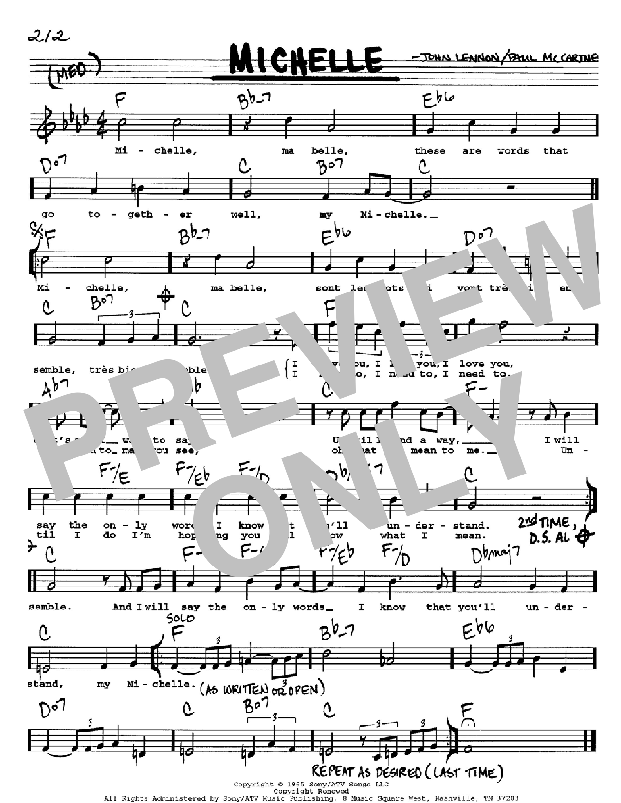 Michelle The Beatles Real Book Melody Lyrics Chords C