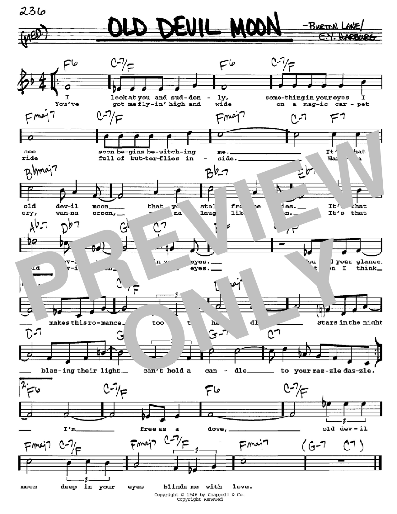 Old Devil Moon Sheet Music