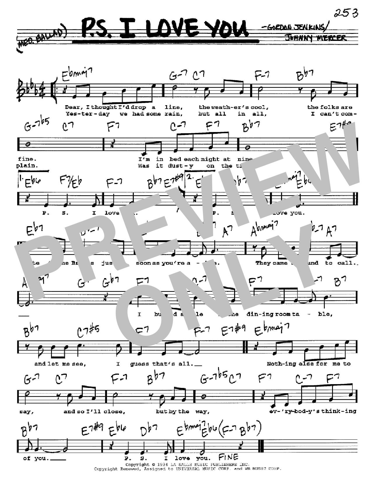 P.S. I Love You (Real Book – Melody, Lyrics & Chords)