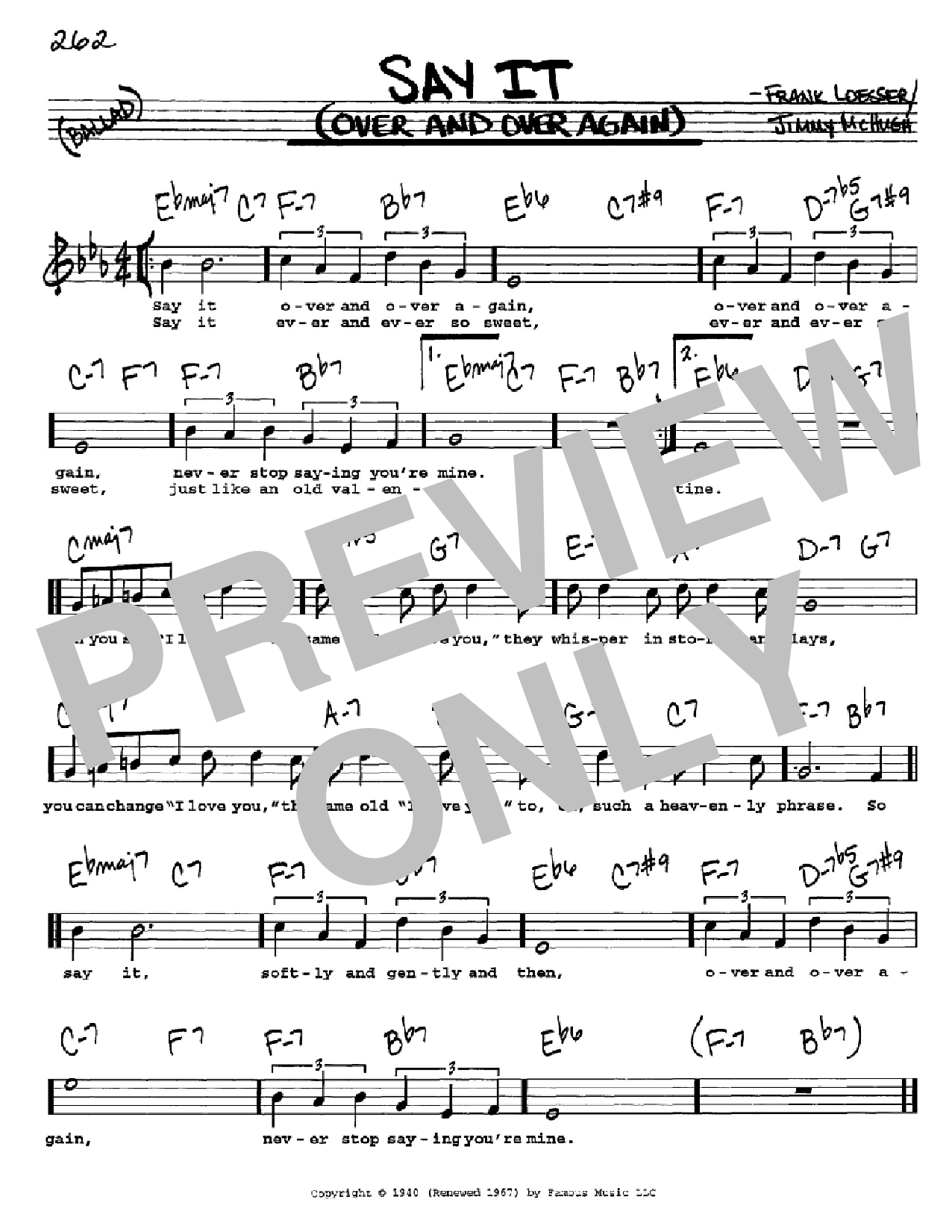 Say It (Over And Over Again) Sheet Music