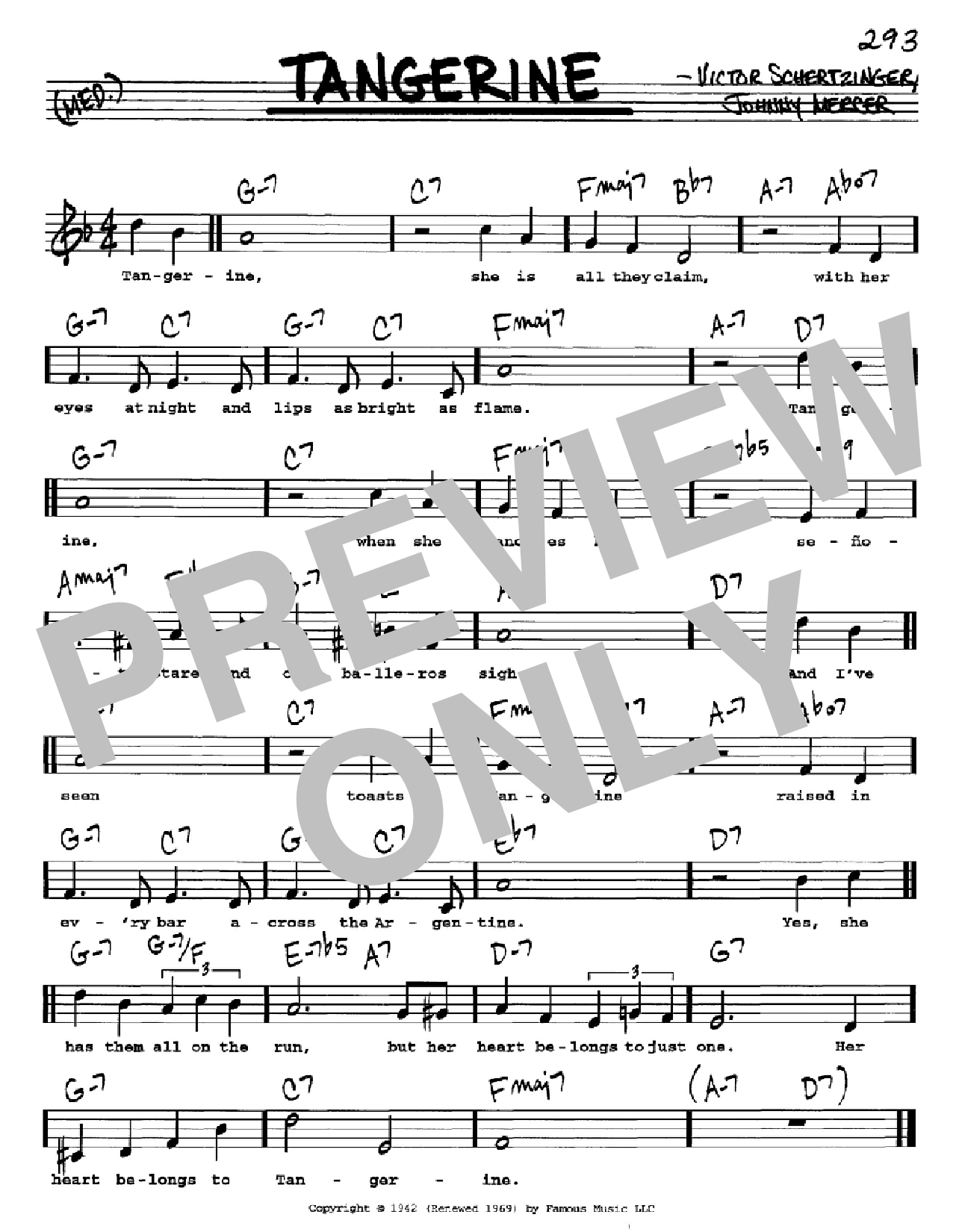 Tangerine Sheet Music