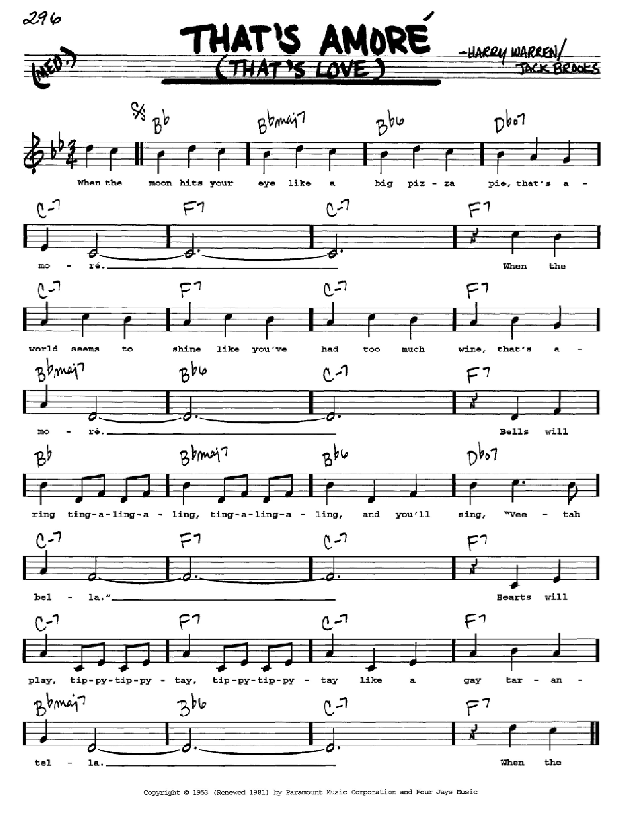 That's Amore (That's Love) Sheet Music