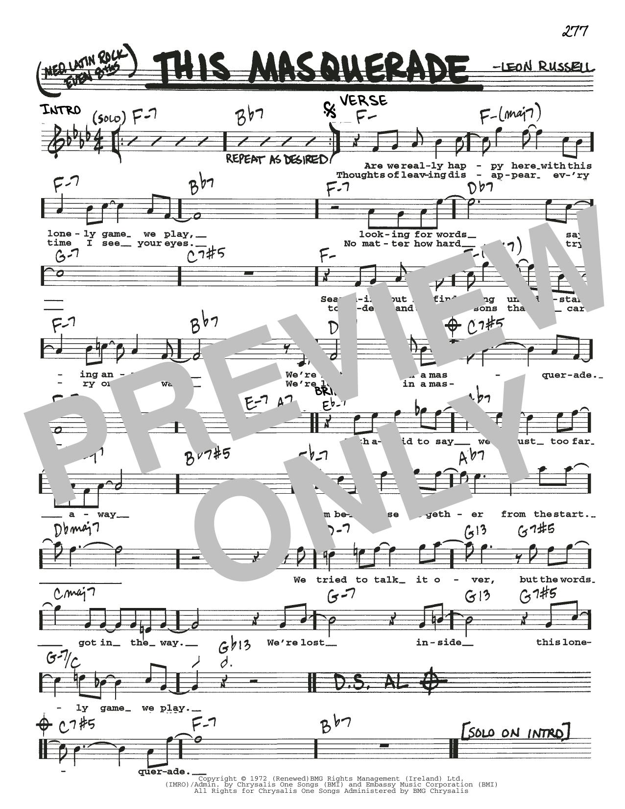 Partition autre This Masquerade de Leon Russell - Real Book, Melodie, Paroles et Accords, Inst. En Do