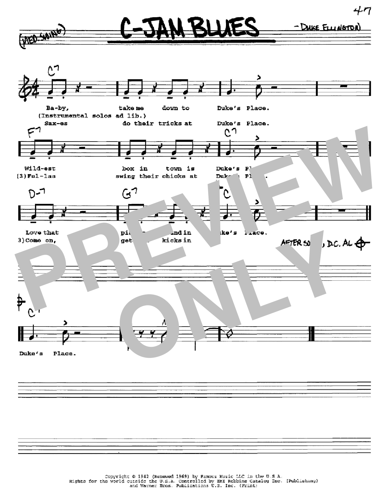 C-Jam Blues Sheet Music