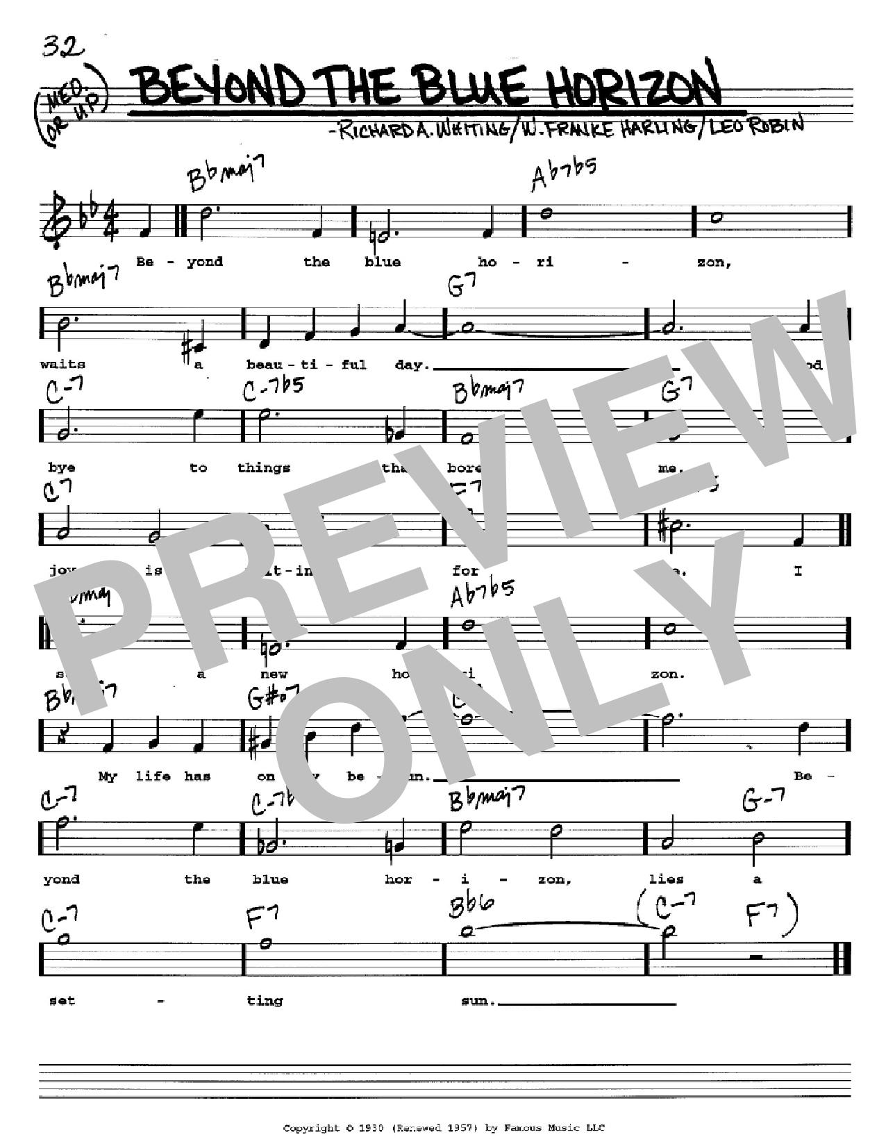 Beyond The Blue Horizon Sheet Music
