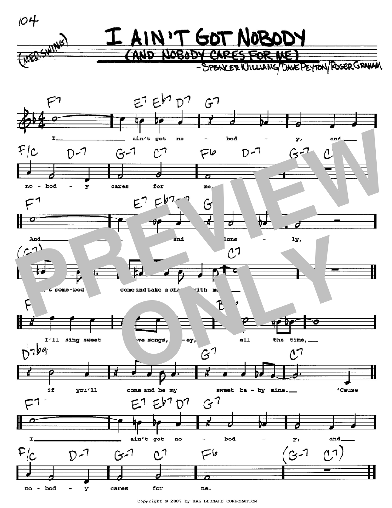 I Ain't Got Nobody (And Nobody Cares For Me) Sheet Music