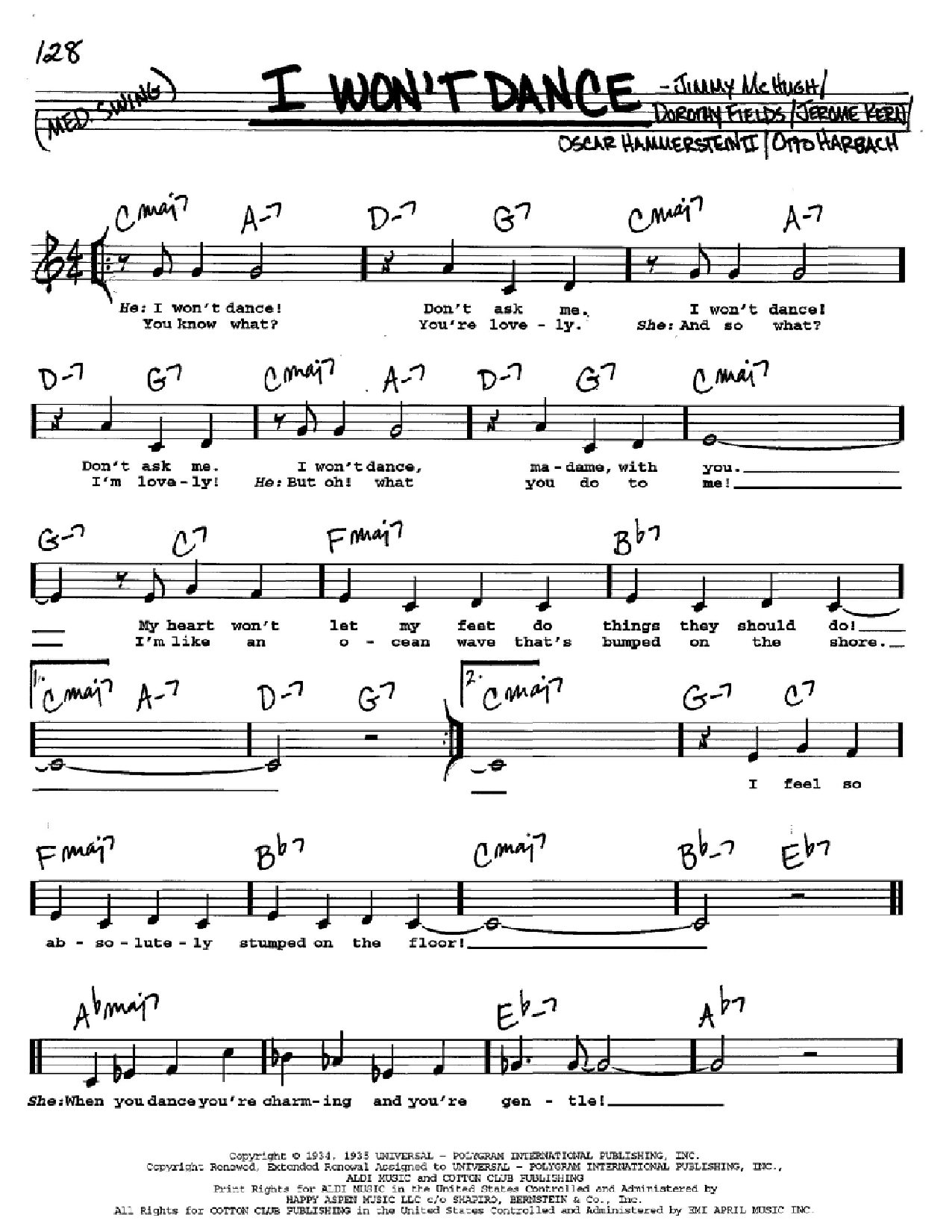 I Won't Dance Sheet Music