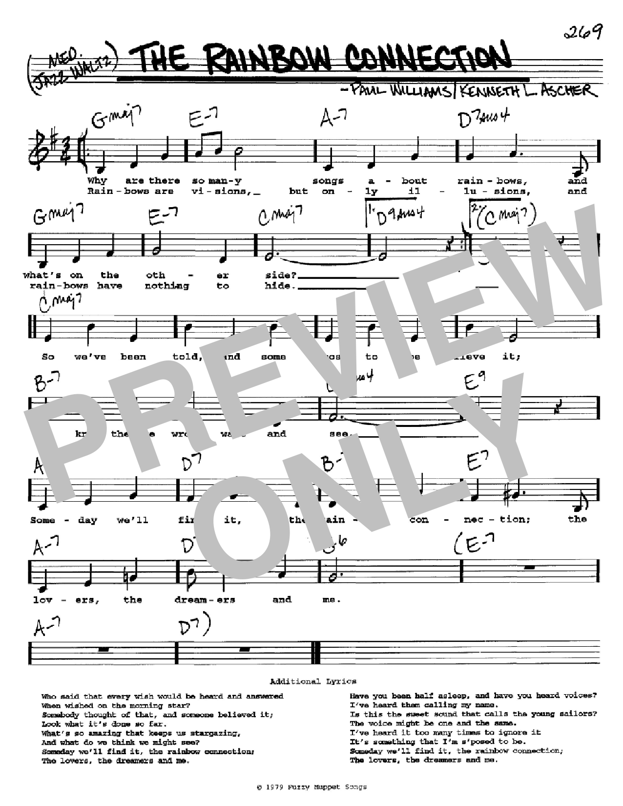The Rainbow Connection Sheet Music Paul Williams Real Book