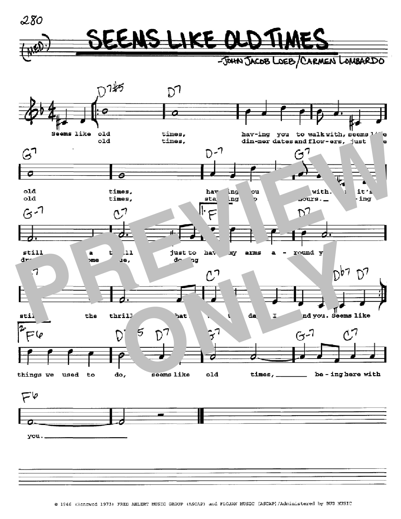 Seems Like Old Times (Real Book – Melody, Lyrics & Chords)